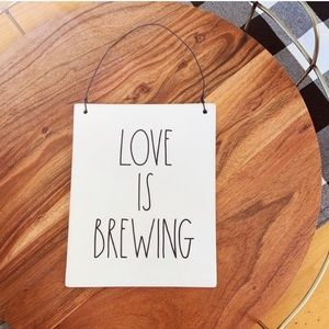 NWOT Rae Dunn Love is Brewing Ceramic Hang Sign